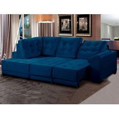 Imagem de Sofá de Canto Chaise 5 lugares Retrátil Reclinável Suede Luxury 250cm Só Sofá