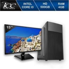 Imagem de Computador Completo Icc Intel Core I3 4Gb Hd 500Gb Monitor 15