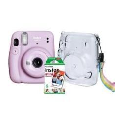 Kit Câmera Instantânea Fujifilm Instax Mini 11 Lilás + Case Crystal + Filme 10 poses