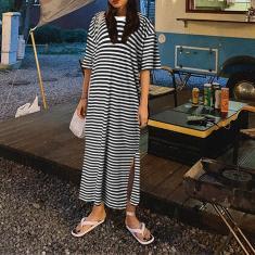 Imagem de Zanzea Feminino Verão Metade Mangas Fenda Lateral Reta Casual Vestidos Longos Camisas Vestido Listrado Estampado Maxi  4XL