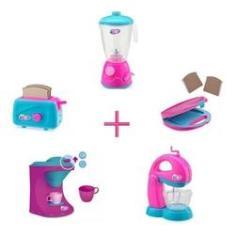 Imagem de Kit 5 Itens Cafeteira Som E Luz Cozinha Menina Brinquedos
