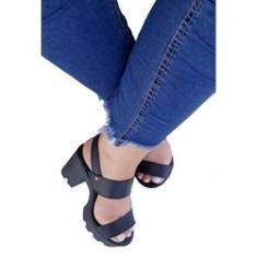 Imagem de Sandália feminina tratorada  tira salto alto grosso conforto