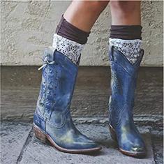 Imagem de PLAYH Botas de caubói femininas de PU pontiaguda de bico fino Botas de cano médio com salto grosso Botas de cano médio Botas de equitação (Cor: , Tamanho: 39)