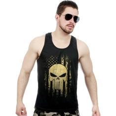 Foto Camiseta Regata Militar EUA Punisher Gold Line - Masculino  ca7ff42939a