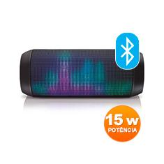 Foto Caixa de Som Bluetooth Recarregável Sound Colors SP192 Preto 15W LED Light USB Multilaser | Kalunga