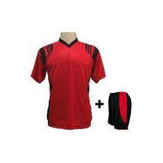 089d4a5af278b Foto Uniforme Esportivo com 12 Camisas modelo Roma Vermelho Preto + 12  Calções modelo Copa