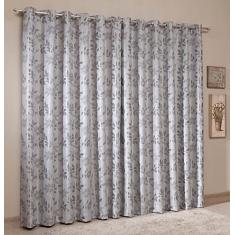 Foto Cortina Blackout Jacquard - Prata - 3,80m x 2,50m - P/ Varão - Sultan | Amazon