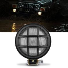 Foto Farol Milha Redondo Off Road Preto Grade e Manejo Jeep Pick Up Caminhão Camionete Troller Universal | Connect Parts*