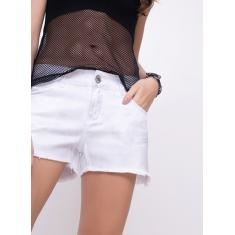 Foto Short Regular Prata em Sarja OFF WHITE | Youcom