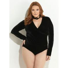 Foto Body Plus Size Preto em Veludo Quintess | Beline Plus Size