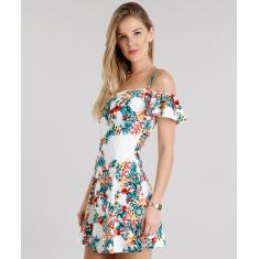 Foto Vestido Feminino Open Shoulder Estampado Floral Off White | C&A