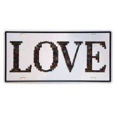 Foto Placa De Metal Decorativa Love - 30,5 X 15,5 Cm | Submarino