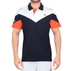 792903d197 Foto Camisa Polo Lacoste Fancy Tennis DH7983 Marinho Branca e Laranja