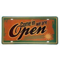 Foto Placa De Metal Decorativa Come In We Are Open - 30,5 X 15,5 Cm | Submarino