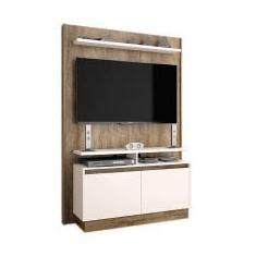 Foto Estante Home Theater Fit Madeira Touch/Off White Brilho - Imcal | Magazine Luiza.