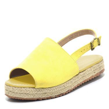 Sandália Anabela Flor da Pele Amarelo  feminino