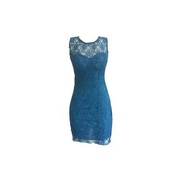 Vestido Feminino Renda Azul Petróleo Com Bojo Balada Festa