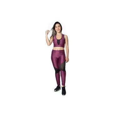 Conjunto Fitness Lilás com Tule: 1 Calça Legging Cós Alto + 1 Top de Alta Sustentação