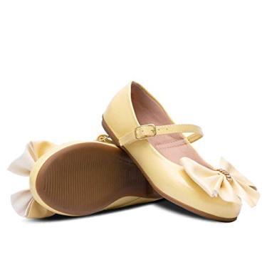 Sapatilha Infantil Feminino Laço Grande 02.06J (Amarelo, 33)
