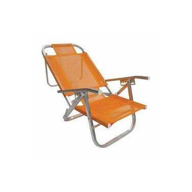 Cadeira De Praia Copacabana Reclinável Alta - Laranja