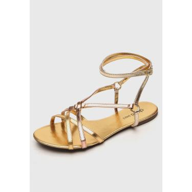 Rasteira DAFITI SHOES Metalizada Dourada DAFITI SHOES RS-49 feminino