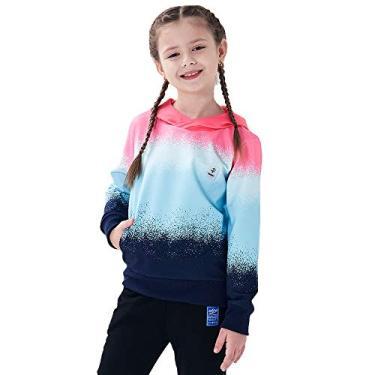 Ovovod moletom com capuz de manga comprida esportivo suéter degradê casual para meninos e meninas de 3 a 14 anos, rosa, 10-12