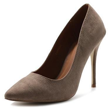 Ollio sapato feminino de camurça sintética bico fino salto alto multicolorido, Taupe, 9