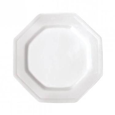 Kit 50 Pratos Plásticos Oitavados Brancos Duros