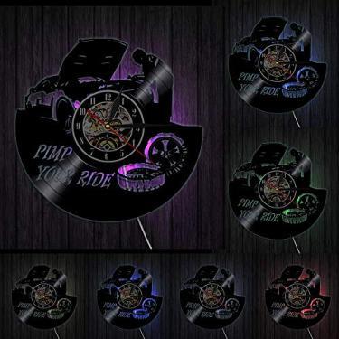 Imagem de relógio de parede Relógio de parede de vinil para consertar seu carro, Tema de direção, Design moderno, Relógio de parede de garagem, Decoração de serviço mecânico de carro