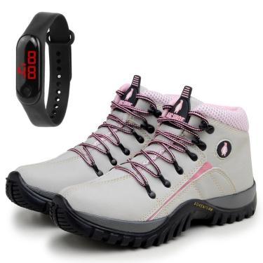 Bota Feminina Coturno Adventure Trekking Creme/Rosa com Relógio  feminino