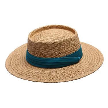 menolana Chapéu de Palha de Aba Larga de Verão Feminino Boater Chapéu de Sol Balde Dobrável Cap Fedora Hat Cap - Verde