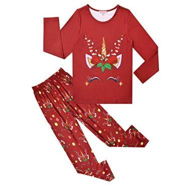 QPANCY Pijama infantil para meninas, unicórnio/sereia, outono e inverno, algodão, Unicorn Red, 6-7 Years