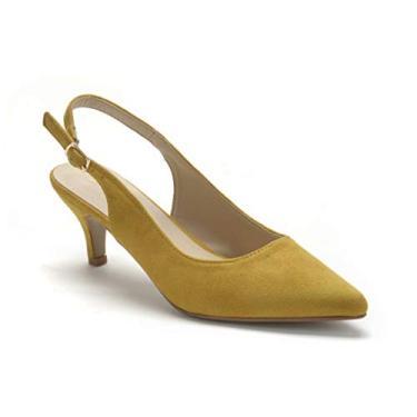 Sapato feminino ComeShun salto gatinho fechado bico fino vestido festa escarpim, Amarelo (laranja), 6