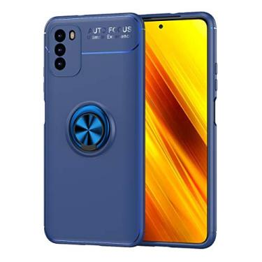 Cellular Capa para Xiaomi Poco M3 Capa Case Anel Suporte Magnético Protetor de Suporte TPU + ABS Silicone Capa Anti-queda Atualização função de suporte Caso Cell Case:Azul