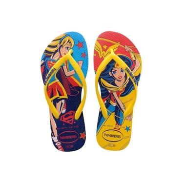 Chinelo Infantil Havaianas Kids Mulher Maravilha e Supergirl DC Super Hero