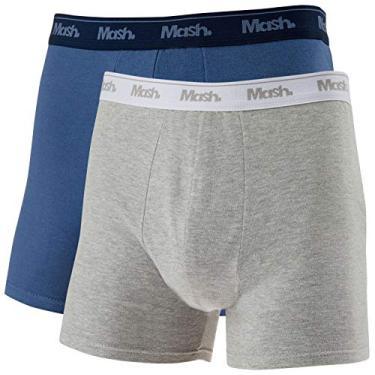 Kit 2 Cuecas Boxer, Mash, Masculino, Azul/Cinza, GG