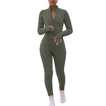 Macacão feminino sexy de uma peça da Ekaliy, colado ao corpo, gola alta, zíper e manga comprida, Verde, XXL