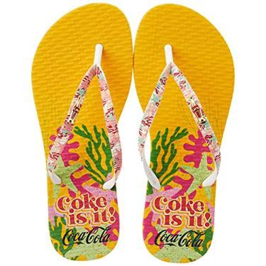 Imagem de Sandálias Coca-Cola, Coral Coke, Amarelo/Branco, Feminino, 34