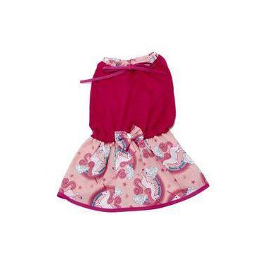 Vestido Para Cachorro Malha Com Lacinho Rosa Unicórnio M