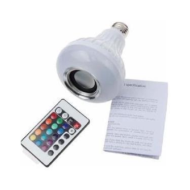 Lampada Led Rgb Com Caixa De Som Bluetooth E Controle Remoto
