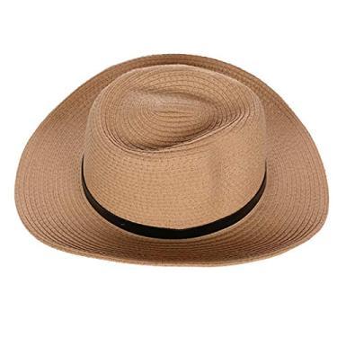 Serenable Praia Palha Chapéu de Sol Proteção UV Trançada Floppy Verão Panamá Chapéu Fedora Trilby - Cáqui