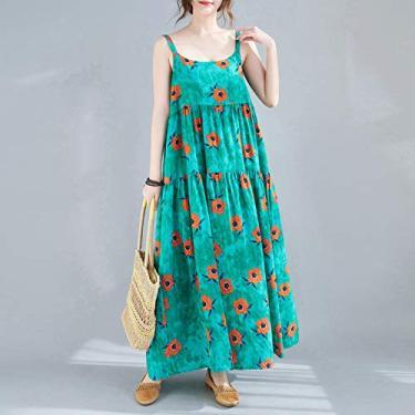 Vestido feminino retrô Adaskala solto sem mangas floral/listrado tamanho grande Boho Holiday Midi Dress