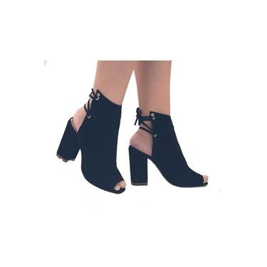 Sandalia Feminina Preta Fechada Salto Medio Salto Grosso Tratorada Sapatos Femininos