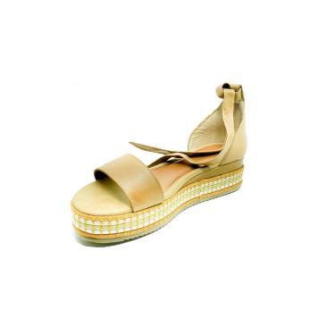 Sandalia Rasteira Plataforma Confort Couro Dani K Bege  feminino