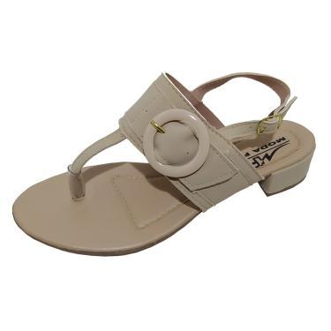 Sandália Moda Pé Salto Bloco Baixo 2,5 cm Amendoa  feminino