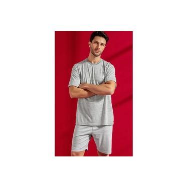 Pijama Masculino Adulto Mixte Manga Curta Cinza com Bermuda em Algodão Especial 9566