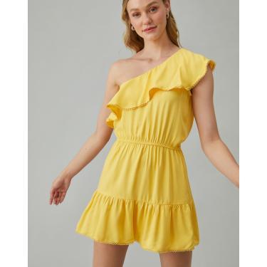 vestido curto de babados e ombro único Feminino AMARO AMARELO M
