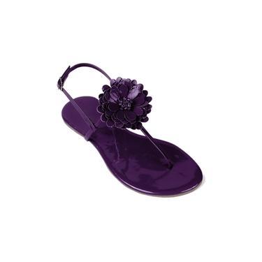 Sandália Mercedita Shoes Flat Com Flor Verniz Uva