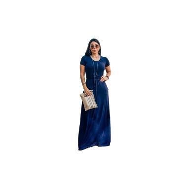 Vestido longo feminino casual básico manga curta com ajuste na cintura azul escuro viscolycra