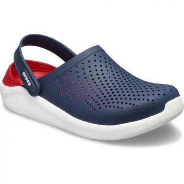 Sandália Crocs LiteRide Clog Unissex 204592-4CC, Cor: Azul Marinho/vermelho, Tamanho: 35.  unissex